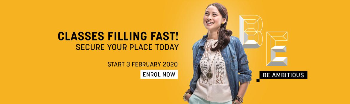 Classes are filling fast - Enrol now - Start 3rd Feb 2020